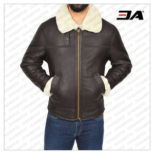 MEN DARK BROWN SHEARLING LEATHER JACKET - 3A MOTO LEATHER