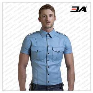 Blue Leather Shirt - 3A MOTO LEATHER