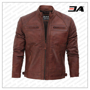 Johnson Dark Brown Quilted Motorcycle Leather Jacket