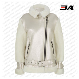 Metallic Shearling Fur Leather Biker Jacket