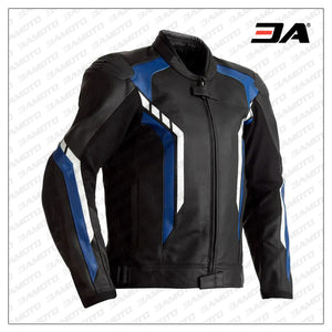 Motorcycle Black And Blue Leather Jacket