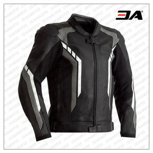 Motorcycle black And Grey Leather jacket