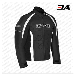 Motorcycle Black And White padded Motorcycle Jacket