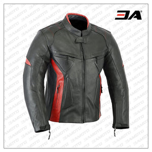 Motorcycle Black Red Leather Armor Jacket