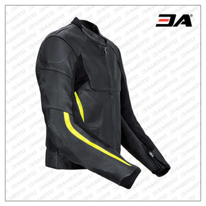 Motorcycle Sports Racing Leather Black And Yellow Jacket