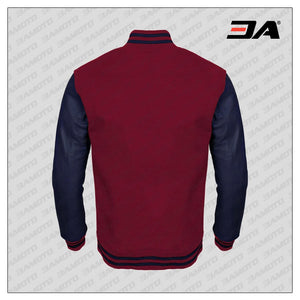 Navy Blue Faux Leather Sleeves Maroon Wool Varsity Jacket