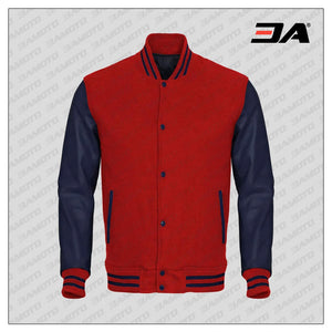 Navy Blue Faux Leather Sleeves Red Wool Varsity Jacket