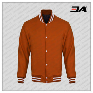 Orange Cotton Fleece Varsity Jacket
