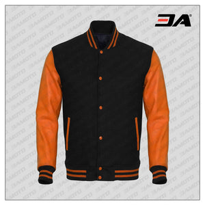 Orange Faux Leather Sleeves Black Wool Varsity Jacket