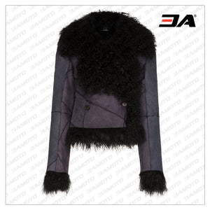 Panelled Shearling Fur Leather Jacket