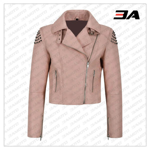 Pink Back Skull Studded Biker Leather Jacket - 3A MOTO LEATHER