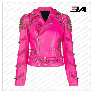 Pink Lambskin Leather Studded Biker Jacket - 3A MOTO LEATHER