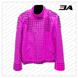 Pink Vintage Studded Punk Leather Biker Jacket - 3A MOTO LEATHER