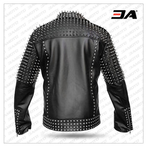 Men Real Black Leather Jacket Spike Studded Rock Star Punk Style Cropped Leather Jacket