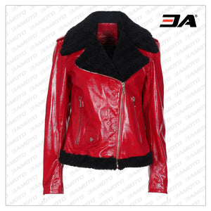 Red Biker Leather Fur Jacket