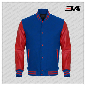 Red Faux Leather Sleeves Blue Wool Varsity Jacket