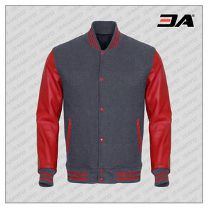 Red Faux Leather Sleeves Gray Wool Varsity Jacket
