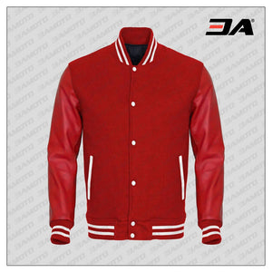 Red Faux Leather Sleeves Red Wool Varsity Jacket