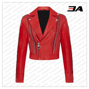 Red Perfecto Crystal Work Biker Jacket - 3A MOTO LEATHER