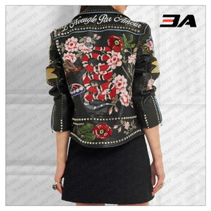 Rose Handpainted Silver Studded Biker Jacket - 3A MOTO LEATHER