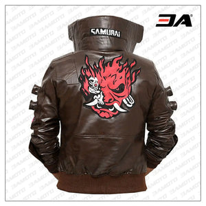 samurai cyberpunk 2077 real bomber leather bwn jacket
