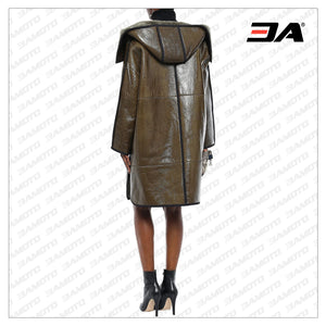 Shearling Trimmed Crinkled Glossed Fur Leather Hooded Coat