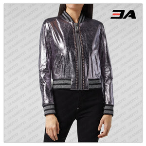 Lilac Metallic Bomber Studded Biker Jacket - 3A MOTO LEATHER