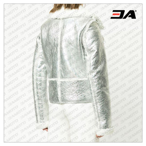 Silver-tone Metallic Shearling Fur Biker Jacket