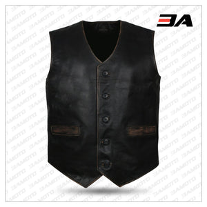 Mens Skull Embossed Leather Vest