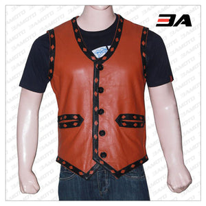 Mens Skull Tan Leather Vest