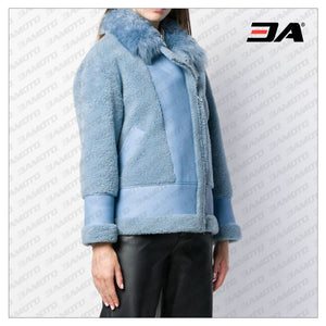 Sky Blue Merino Wool Shearling Aviator Jacket