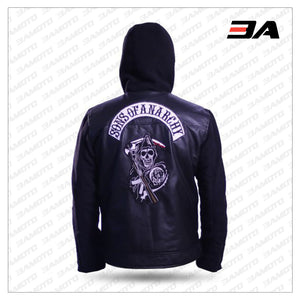 SAMCRO Sons Of Anarchy Zip Up Hoodie Faux Leather