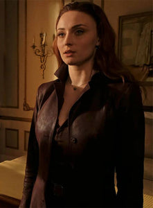 SOPHIE TURNER DARK PHOENIX LEATHER LONG COAT