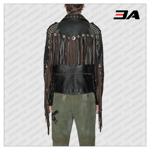 Studded Leather Biker Jacket with Fringe - 3A MOTO LEATHER