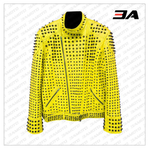 Studded Punk Leather Yellow Vintage Jacket - 3A MOTO LEATHER