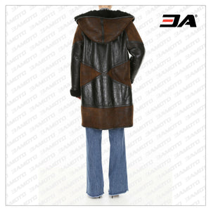 Two Tone Lamb Fur Hooded Coat