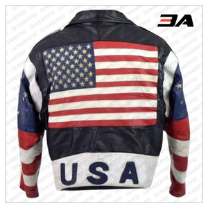 Vintage 80s USA Flag Brando Stars Studded Bomber Leather Jacket - 3A MOTO LEATHER