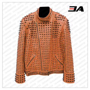 Vintage Studded Punk Leather Brown Biker Jacket - 3A MOTO LEATHER