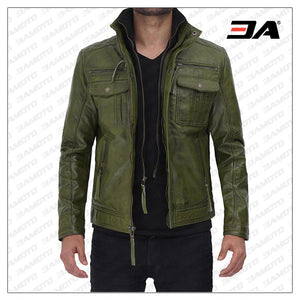Moffit Green Real Leather Jacket