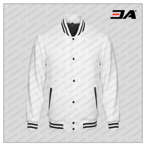 White Cotton Fleece Varsity Jacket