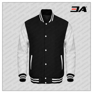 White Faux Leather Sleeves Black Wool Varsity Jacket
