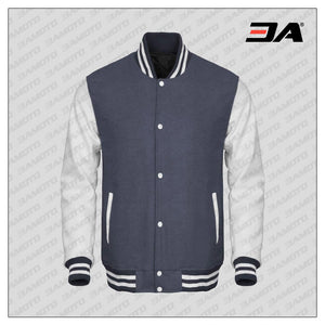 White Faux Leather Sleeves Gray Wool Varsity Jacket