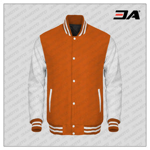 White Faux Leather Sleeves Orange Wool Varsity Jacket