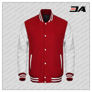 White Faux Leather Sleeves Red Wool Varsity Jacket