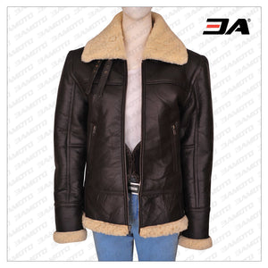 WOMEN B3 BOMBER SHEARLING AVIATOR JACKET - 3A MOTO LEATHER