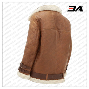 WOMEN LIGHT BROWN SHEARLING JACKET - 3A MOTO LEATHER