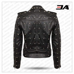Women Gothic Handmade Black Leather Jacket With Full Golden Studs Brando Jacket