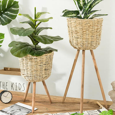 Rustic Basket Weave Planter On Stand