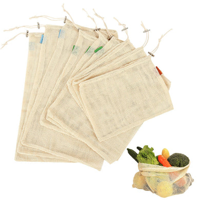Cotton Mesh Vegetable Storage Bags - 9 Pack