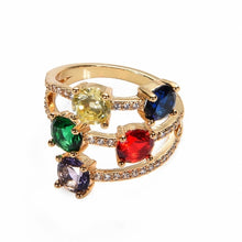 Load image into Gallery viewer, Gold Rhinestone Ring